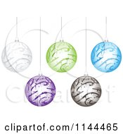 Clipart Of Suspended Colorful Swirl Christmas Baubles Royalty Free Vector Illustration