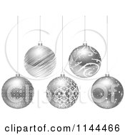 Clipart Of Suspended Silver Christmas Baubles Royalty Free Vector Illustration