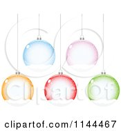 Clipart Of Suspended Colorful Snow Globe Christmas Baubles Royalty Free Vector Illustration by Andrei Marincas