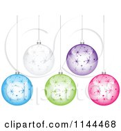 Clipart Of Suspended Colorful Starry Christmas Baubles Royalty Free Vector Illustration