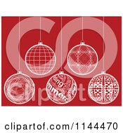 Clipart Of Suspended White Christmas Baubles On Red 2 Royalty Free Vector Illustration