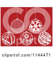 Clipart Of Suspended White Christmas Baubles On Red 3 Royalty Free Vector Illustration