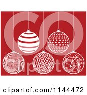 Clipart Of Suspended White Christmas Baubles On Red 4 Royalty Free Vector Illustration