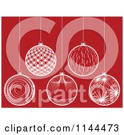 Clipart Of Suspended White Christmas Baubles On Red 5 Royalty Free Vector Illustration