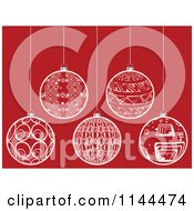 Clipart Of Suspended White Christmas Baubles On Red 6 Royalty Free Vector Illustration