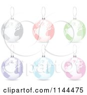 Clipart Of Suspended Colorful World Map Christmas Baubles Royalty Free Vector Illustration by Andrei Marincas