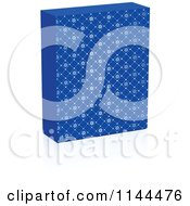 Clipart Of A 3d Blue Snowflake Patterned Christmas Box And Shadow Royalty Free Vector Illustration