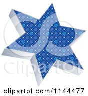 Clipart Of A 3d Blue Snowflake Patterned Christmas Star Royalty Free Vector Illustration