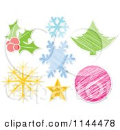 Clipart Of Christmas Icons With White Borders Royalty Free Vector Illustration by Andrei Marincas