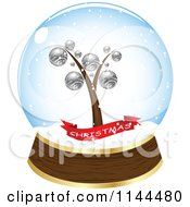 Clipart Of A Christmas Tree And Banner In A Snow Globe Royalty Free Vector Illustration by Andrei Marincas
