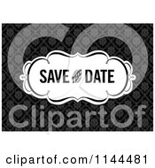 Clipart Of A Retro Black And White Save The Date Wedding Damask Design Royalty Free Vector Illustration by BestVector