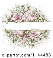 Clipart Of A Vintage Pink Flower And Green Leaf Background With Copyspace 1 Royalty Free Vector Illustration by BestVector