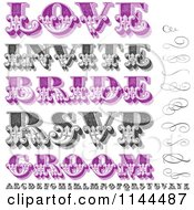 Clipart Of Retro Purple And Black And White Swirls Letters And Marriage Words Royalty Free Vector Illustration