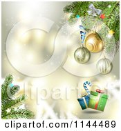 Clipart Of A Gold Christmas Background With Tree Branches Baubles And Gifts Royalty Free Vector Illustration by merlinul