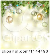 Clipart Of A Golden Christmas Background With Baubles On Branches Royalty Free Vector Illustration