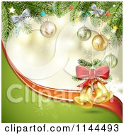 Clipart Of A Christmas Background Of Ornaments And Branches With Bells Royalty Free Vector Illustration by merlinul
