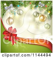 Clipart Of A Christmas Background Of A Branches Baubles A Bow And Wave Royalty Free Vector Illustration by merlinul