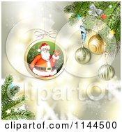 Clipart Of A Santa Waving Christmas Bauble Background 3 Royalty Free Vector Illustration by merlinul