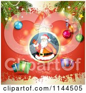 Clipart Of A Santa Waving Christmas Bauble Background 7 Royalty Free Vector Illustration by merlinul