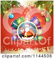 Clipart Of A Santa Waving Christmas Bauble Background 4 Royalty Free Vector Illustration by merlinul