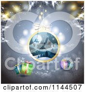 Clipart Of A Christmas Background With Snowflakes Gifts And A Santa Bauble Royalty Free Vector Illustration by merlinul