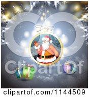 Clipart Of A Santa Waving Christmas Bauble Background 2 Royalty Free Vector Illustration by merlinul