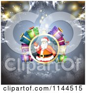Clipart Of A Santa Waving Christmas Bauble Background 6 Royalty Free Vector Illustration by merlinul
