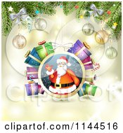Clipart Of A Santa Waving Christmas Bauble Background 5 Royalty Free Vector Illustration by merlinul