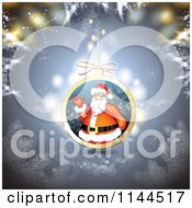 Clipart Of A Santa Waving Christmas Bauble Background 1 Royalty Free Vector Illustration by merlinul