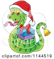 Cartoon Of A Cute Christmas Snake Ringing A Bell And Holding A Gift Royalty Free Vector Clipart by visekart