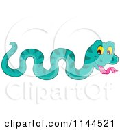 Cartoon Of A Cute Turquoise Snake Royalty Free Vector Clipart by visekart