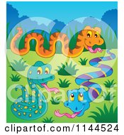 Cartoon Of Cute Snakes In A Meadow Royalty Free Vector Clipart