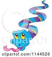 Cartoon Of A Cute Blue And Purple Snake Royalty Free Vector Clipart