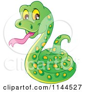 Cartoon Of A Cute Coiled Green Snake Royalty Free Vector Clipart by visekart