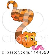 Cartoon Of A Cute Hanging Orange Snake Royalty Free Vector Clipart