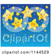 Cartoon Of A Cute Yellow Star And Blue Night Sky Background Royalty Free Vector Clipart by visekart