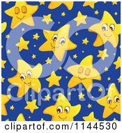 Cartoon Of A Seamless Cute Yellow Star And Blue Night Sky Pattern Royalty Free Vector Clipart