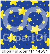 Cartoon Of A Seamless Yellow Star And Blue Night Sky Pattern Royalty Free Vector Clipart