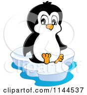 Cartoon Of A Cute Little Penguin Sitting On An Iceberg Royalty Free Vector Clipart by visekart