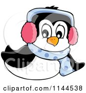 Cartoon Of A Cute Little Sliding Penguin Wearing A Scarf And Winter Ear Muffs Royalty Free Vector Clipart by visekart