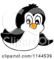 Cartoon Of A Cute Little Penguin Sliding Royalty Free Vector Clipart