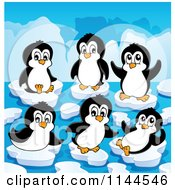 Cartoon Of Cute Penguins Playing On Ice Bergs Royalty Free Vector Clipart by visekart