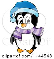 Cartoon Of A Cute Little Penguin Wearing A Scarf And Winter Hat 4 Royalty Free Vector Clipart