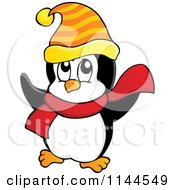 Cartoon Of A Cute Little Penguin Wearing A Scarf And Winter Hat 3 Royalty Free Vector Clipart