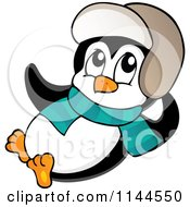 Cartoon Of A Cute Little Reclining Penguin Wearing A Scarf And Winter Hat Royalty Free Vector Clipart