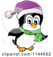 Cartoon Of A Cute Little Penguin Wearing A Scarf And Winter Hat 1 Royalty Free Vector Clipart