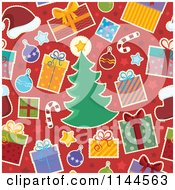 Cartoon Of A Seamless Christmas Background Pattern Royalty Free Vector Clipart