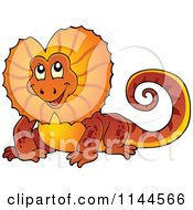 Cartoon Of A Cute Orange Aussie Frilled Lizard Royalty Free Vector Clipart by visekart