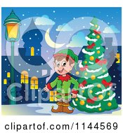 Cartoon Of A Happy Male Christmas Elf By An Outdoor City Tree Royalty Free Vector Clipart by visekart