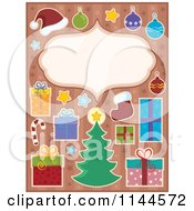 Cartoon Of A Christmas Frame Surrounded By Holiday Items On Starry Stripes Royalty Free Vector Clipart